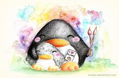 "Commission for . She wanted a mommy penguin ""with one baby penguin, and they're doing an art project or it's giving her an ""i love you mom"" card or something. fluffy little baby penguin! Penguin Drawing, Penguin Art, Penguin Love, Cute Drawlings, Penguin Illustration, Chibi, Baby Penguins, Art Challenge, Cute Images"
