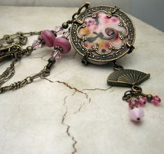 Lampwork Necklace with Antique Brass by StoneDesignsbySheila, $89.00