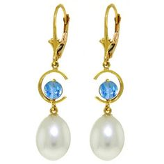 14K Solid Gold Moonstruck Blue Topaz Pearl Earrings - 4482
