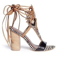 Sam Edelman 'Yates' beaded calf hair leather sandals ($110) ❤ liked on Polyvore