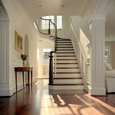 Beautiful entry foyer and staircase Benjamin Moore Linen White, Future House, My House, Entry Stairs, Foyer Staircase, White Staircase, Entry Foyer, Staircase Molding, Open Entryway