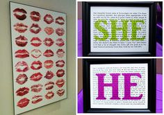 On the left is a wonderful idea for you hen's party: Let your girls kiss a paper with lipstick (and if you like let them sign it) and put it up in a frame! So unique! On the right is a cute idea for the gift table: She wrote all the things on a paper that she loves about him and the other way round and put those up in frames.