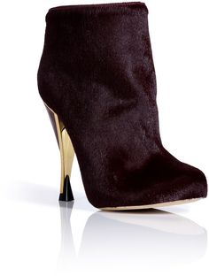 Diane Von Furstenberg Shoes | Diane Von Furstenberg Claret Haircalf Platform Ankle Boots with Metal ...