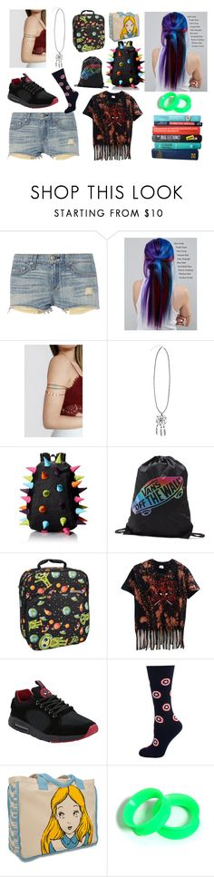 """creepypasta book"" by dinobuggy ❤ liked on Polyvore featuring rag & bone, Manic Panic NYC, Hot Topic, MadPax, Vans, Bentology, Marvel, Cufflinks, Inc. and Disney"