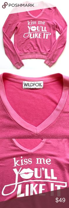 "Wildfox Kiss Me You'll Like It Pink Sweater Some signs of wear from regular use- cracking in the design on the front. Doesn't affect wear but worth noting! See photos  •Women's size XS •47% Rayon, 47% Polyester, 6% Spandex  •17"" across underarms, 23"" from shoulder to hem  •Retail $108 👋🏼 Make me an offer!  🥂 Thank you for shopping in my closet! xoxo Kate Wildfox Tops Sweatshirts & Hoodies"