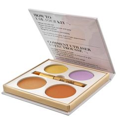 Jane Iredale Corrective Colors Concealer Palette - A professional palette developed to camouflage all the stages of bruising and hyperpigmentation. Specially designed colours to follow the cycle of a bruise, concealing it at every stage. Enriched with Green Tea Leaf Extract to calm and protect skin, and Iron Oxides to give pigment, effectively covering imperfections.