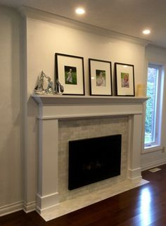 Valor insert , drywall, Wood duck mantel over brick facing Beach Fireplace, Floating Fireplace, Fireplace Mantel Surrounds, Brick Fireplace Makeover, Small Fireplace, Home Fireplace, Fireplace Remodel, Living Room With Fireplace, Fireplace Design