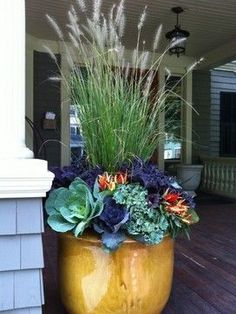 Fall Planters Design Ideas, Pictures, Remodel, and Decor - page 5 - With the arrival of rains and falling temperatures autumn is a perfect opportunity to make new plantations Fall Planters, Garden Planters, Fall Potted Plants, Fall Container Gardening, Autumn Planter Ideas, Planters Shade, Large Outdoor Planters, Front Door Planters, Orchid Planters