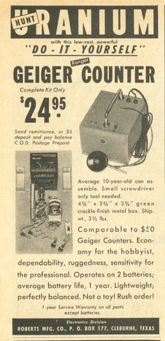 Have a DIY Uranium hunt with your very own Geiger Counter, 1955 (via VintageAmerica Flickr)