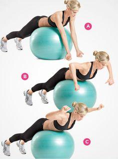 For your upper back: Swiss-ball L raise