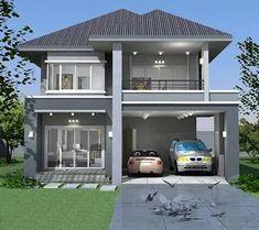 65 Examples of Modern Minimalist 2 Storey House Designs - HomeDesign 03 Sims 4 Modern House, Modern House Plans, Modern House Design, Two Story House Design, 2 Storey House Design, Modern Minimalist House, Small Modern Home, Dream Home Design, Home Design Plans