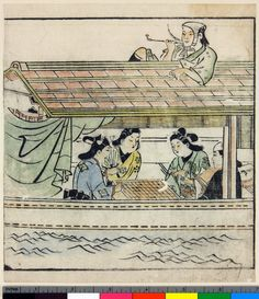 Woodblock print, album leaf. Popular culture. Four figures playing go on a river-boat, while boatman is smoking on roof. From an untitled album. Beni-e on paper.