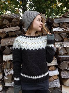 Reserved for Carter: MADE TO ORDER Black Sheep Icelandic Sweater featuring an original hand knit design and a rolled neckline. Made with aran weight 100% Icelandic Lett Lopi Wool. Care instructions: Gentle hand-washing only. MEASUREMENTS: Approximate and taken laid flat. Double