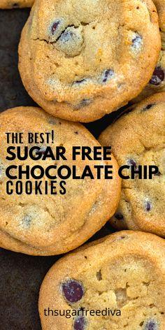 Low Sugar Cookies, Sugar Free Cookie Recipes, Low Calorie Cookies, Low Carb Chocolate Chip Cookies, Sugar Free Deserts, Sugar Free Brownies, Low Sugar Desserts, Sugar Free Baking, Sugar Free Sweets