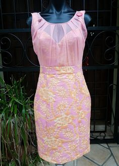 NWT Katherine Silk Pink & Orange Lined Knee Length Dress RRP $280 Size 10