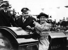 Laurel and Hardy drive the inaugural train on the New Romney-Dungeness section of the line which had been closed since the start of the war, during the Romney, Hythe and Dymchurch Railway's Get premium, high resolution news photos at Getty Images Laurel Et Hardy, Stan Laurel Oliver Hardy, Great Comedies, Classic Comedies, Tandem, Sound Film, Comedy Duos, Portraits, Chef D Oeuvre