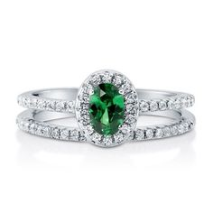 Oval Emerald CZ 925 Silver Halo Ring Set - right hand rings Wedding Ring Styles, Wedding Jewelry, Wedding Rings, Halo Engagement Rings, Halo Rings, 925 Silver, Sterling Silver, Cubic Zirconia Rings, Jewelry Rings