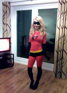 Disney costumes. Disney fancy dress ideas. Easy DIY homemade Disney Pixar The Incredibles - Mrs Incredible / Mr Incredible superhero Halloween Fancy Dress Costume Super Hero Homemade Outfit