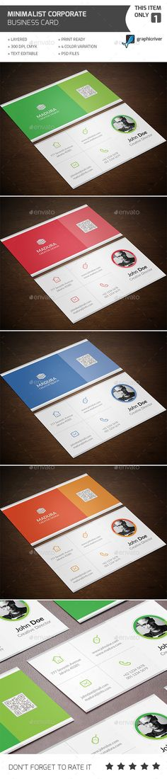 Minimalist Corporate Business Card Template #design Download: http://graphicriver.net/item/minimalist-corporate-business-card/12535334?ref=ksioks