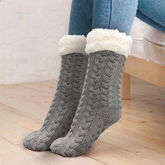Charter Club Slipper Socks with Grippers Black Faux Fur Diamond Socks L//XL COZY!