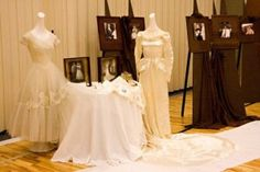 Love this idea--display heritage family wedding gowns at a wedding reception. Rehearsal Dinner Themes, Wedding Rehearsal, Wedding Reception Decorations, Reception Ideas, Wedding Ideas, Wedding Receptions, Wedding Decor, Wedding Stuff, Dream Wedding