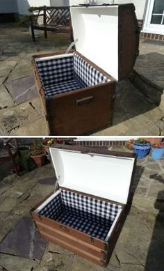 I was walking around a car boot one summer and saw this chest. It caught my eye and I walked past it a few times before I asked the price, thinking... Old Chest, Antique Chest, Wooden Trunks, Wooden Chest, Trunk Makeover, Furniture Makeover, Trunk Redo, Vintage Trunks, Vintage Wood