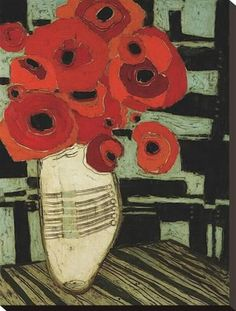 Stretched Canvas Print: Poppies on Table with Chairs by Karen Tusinski : 24x18in