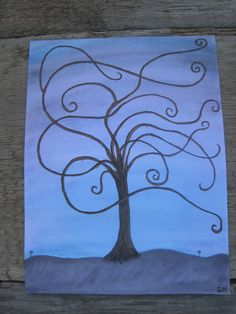 """Beautiful Night"" The boughs of the tree dance in a night breeze, the magical movement only to be witnessed by two delicate, purple flowers and a sleepy sky.  The rich blanket of the night is a lovely backdrop to the deep brown and black of the tree, truly a wish for sweet dreams in every brush stroke. ~Dawn Nagel~"