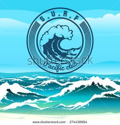 Surf club logo or emblem against stormy tropical seascape. Only free font used. - stock vector