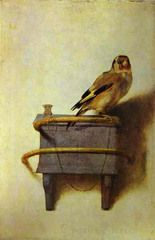"""""""The Goldfinch"""", by Carel Fabritius This was the last painting he painted before he was killed in an explosion, and you can still see marks from the explosion on the side of the canvas."""