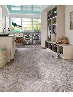 Material we're loving: Brick-look tile. It's so much more achievable to add this rustic look to a mudroom, bathroom, kitchen… anywhere. Think beyond the floor - this tile is also great on the wall.Material we're loving: Brick-look tile. Brick Look Tile, Brick Tiles, Brick Flooring, Flooring Ideas, Brick Pavers, Hallway Flooring, Tile Wood, Garage Flooring, Linoleum Flooring