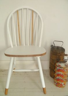 Leaving the feet not painted Ercol Chair, Ercol Furniture, Refurbished Furniture, Recycled Furniture, Retro Furniture, Shabby Chic Furniture, Painted Bar Stools, Painted Chairs, Colorful Chairs