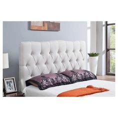 Sienna Ivory Tufted Linen Headboard - Queen - Abbyson Living