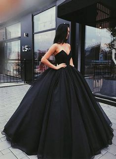 Black A line long prom dress, ball gown wedding dresses by prom dresses, $171.00 USD