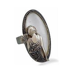 Art Nouveau Sterling Silver * Mother Of Pearl & Marcasite La ...