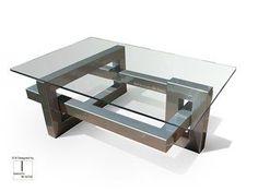 Mesa de centro retangular de aço inox e vidro IOS | Mesa de centro retangular
