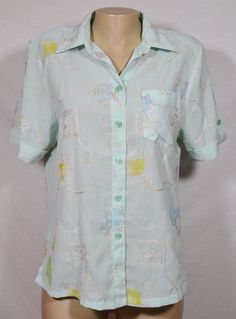 BIG GOLF Pale Seafoam Green Shirt Blouse XXL Embroidered Accents Short Sleeve #BigGolf #Blouse #Casual