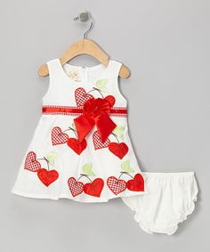 Take a look at this White & Red Cherry Heart Bow Dress & Diaper Cover - Infant on zulily today!