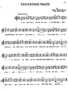 Tennessee Waltz in C Song Lyrics And Chords, Great Song Lyrics, Music Chords, Recorder Music, Alto Sax Sheet Music, Violin Sheet Music, Sheet Music Book, Piano Music Easy, Easy Guitar Songs