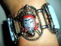 SELRO Bracelet Blue Red Thai ASIAN Girl Woman FLORAL Open Work PRIORITY MAIL #Selro #CuffStatementRetroGlamorousAsianOriental