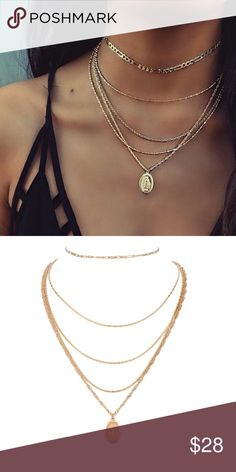 dbae32e399aa LAST - MARY Layered Necklace Dainty Gold tone layered necklace. Delicate  layered necklace. gold