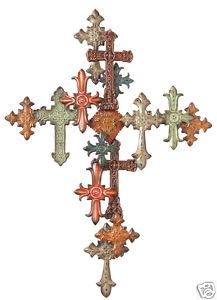 Old World Multi Colored Cross Metal Art Wall Decor 40 H Aged Iron Tuscan New