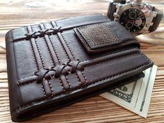 Mens Real Natural Leather Wallet Fine Genuine Geometrical Engraved Calfskin  #MakeyStudio #CardHolder