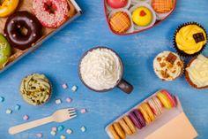 donuts cupcakes and macaroons mug with cream