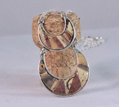 Recycled wine cork mosaic Moon necklace by twirlgirlfibers on Etsy, $34.00