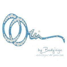 bijou autocollant pour mariée Double Oui Min paillette bleue et strass cristal