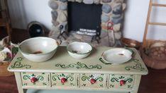 Dollhouse Artisan Mary Carson Hammer Smith miniature Enameled Bowls & Pan 1:12 #HammerNSmith