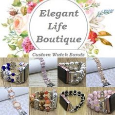 The place to get stylish Handmade Apple Watch Bands! Handmade Women's Beaded Bracelet Watch Bands Compatible for Apple Smartwatch Series 0, 1, 2 and 3 (38mm & 42mm) - made in the USA by www.elegantlifeboutique.com  Please visit my website, Etsy shop or eBay store @ElegantLifeBoutique