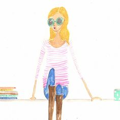 illustration watercolor girl with books sitting pretty on the steps. $20.00, via Etsy.
