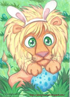 Original ACEO TW APR Easter lion pretend bunny playing with colorful blue egg